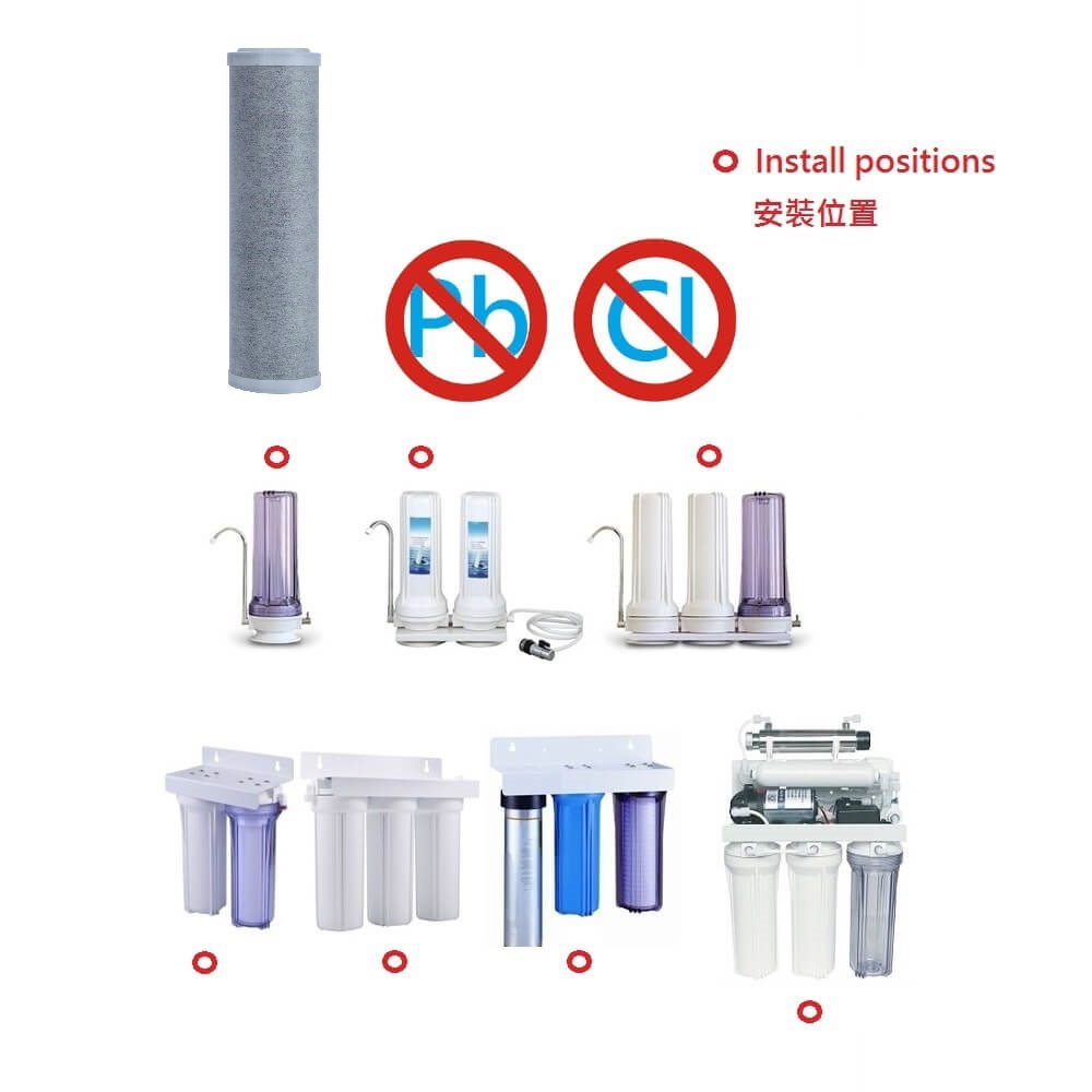 WHF-090(Composite carbon fiber,water filter) for commercial,coffee machine,ice sand machine,ice maker,ice cream machine,filtration,water filtration,water purification,water purifier,miner,alkaline water ionizer,water cartridge